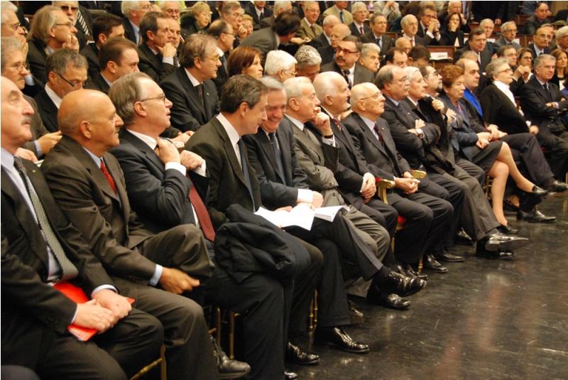 Da sinistra: Angeletti, Epifani, Draghi, Sacconi, Letta, Scalfaro, Napolitano